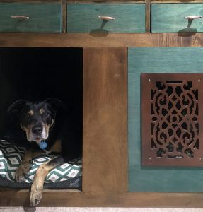 Teal Dog Bed Drawers