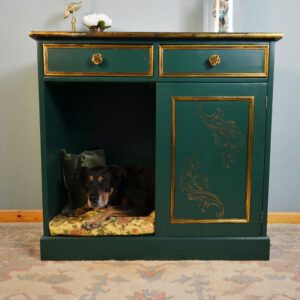 Dog Bed with Drawers Teal Gold