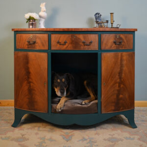 Beautiful Teal and Wood Dog Bed